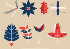 Free vector Collection of hand drawn christmas flowers and leaves #30483