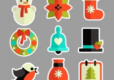 Free vector Colored christmas stickers #31253