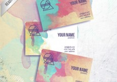 Free vector Colorful business card in hand painted style #30617