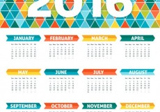 Free vector Colorful calendar with geometric design #30625