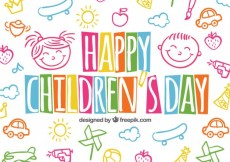 Free vector Colorful children's day background in sketchy style #30553