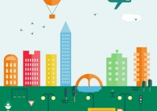 Free vector Colorful cityscape in flat design #33234