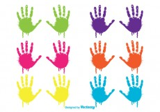 Free vector Colorful Dripping Child Handprints Set #28903