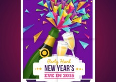Free vector Colorful new year poster with champagne #30581
