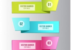 Free vector Colorful origami banners #28815