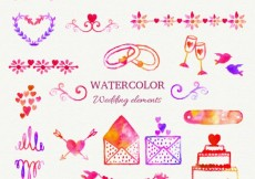 Free vector Colorful watercolor wedding elements #33767