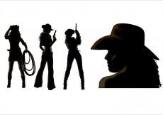 Free vector Cowgirl silhouette vectors #31350