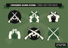 Free vector Crossed Guns Icons Free Vector Pack #28336