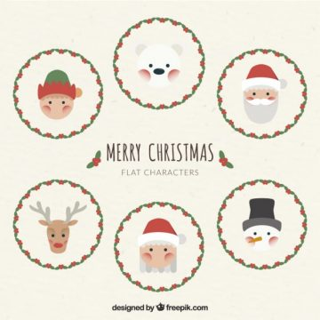 Free vector Cute christmas characters in flat design #32708