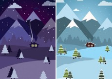 Free vector Day and night at winter forest #32092