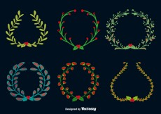 Free vector Doodle christmas round wreaths #28722