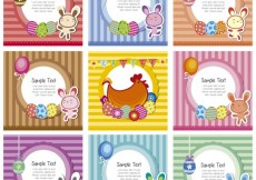 Free vector Easter striped cards collection #33439