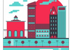 Free vector Flat city buildings in red a blue tones #33080