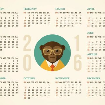 Free vector Free Calendar 2016 With Hipster Monkey Vector #32951