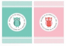 Free vector Free Vector Baby Shower Owl Cards #33187
