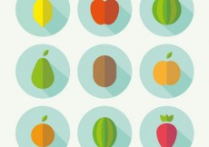 Free vector fruit icons in flat design #29644