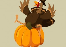 Free vector Funny thanksgiving turkey and a pumpkin #33370