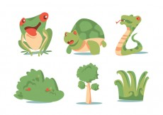 Free vector Green Plant and Animal Vector Set #29032
