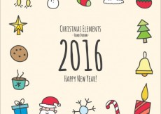 Free vector Hand drawn christmas and new year elements #31225