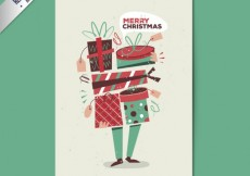 Free vector Hand drawn christmas gifts card #29099