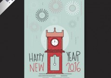 Free vector Hand drawn new year card with fireworks #31353