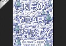 Free vector hand drawn new year party poster #28559