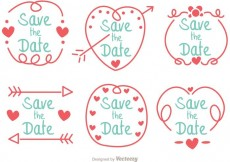 Free vector Hand Drawn Save The Date Vector Pack #34025