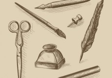 Free vector Hand drawn vintage office supplies #29570