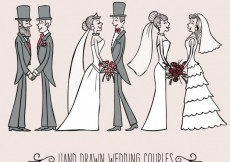 Free vector Hand drawn wedding couples #34485