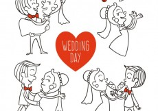 Free vector Hand drawn wedding day illustrations #34483