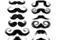 Free vector Hand painted black mustaches collection #30980