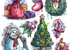 Free vector Hand painted christmas elements collection #28845