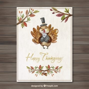 Free vector Hand painted cute thanksgiving turkey card #28759
