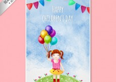 Free vector Hand painted happy children's day card #28675