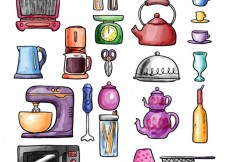 Free vector Hand painted kitchen tools #31612