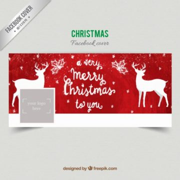 Free vector Hand painted red christmas facebook cover #30933