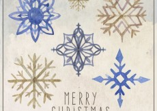 Free vector Hand painted snowflakes collection #28877