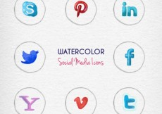Free vector hand painted social media icons #33000