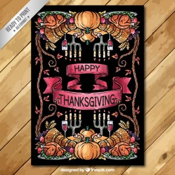 Free vector Hand painted thanksgiving card #33477