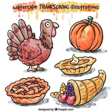 Free vector Hand painted thanksgiving illustrations #33473