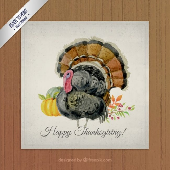 Free vector Hand painted thanksgiving turkey card #29658