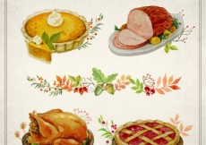 Free vector Hand painted thanksgving food #33521
