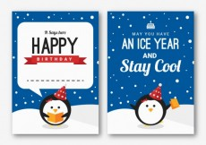 Free vector Happy birthday card with penguins #34571