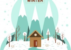 Free vector House in winter landscape #31339