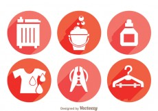 Free vector Laundry Long Shadow Icons #28758