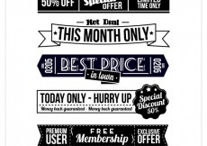 Free vector Monochromatic banners of sales #30657