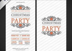 Free vector Ornamental christmas party flyers #29906