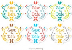 Free vector Ornamental Save The Date Vector Pack #34031