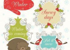 Free vector Ornamental Winter Labels #28709