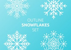 Free vector Outlines snowflakes set #34119